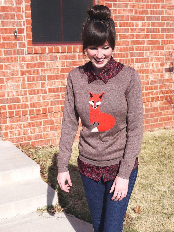 свитер с лисой