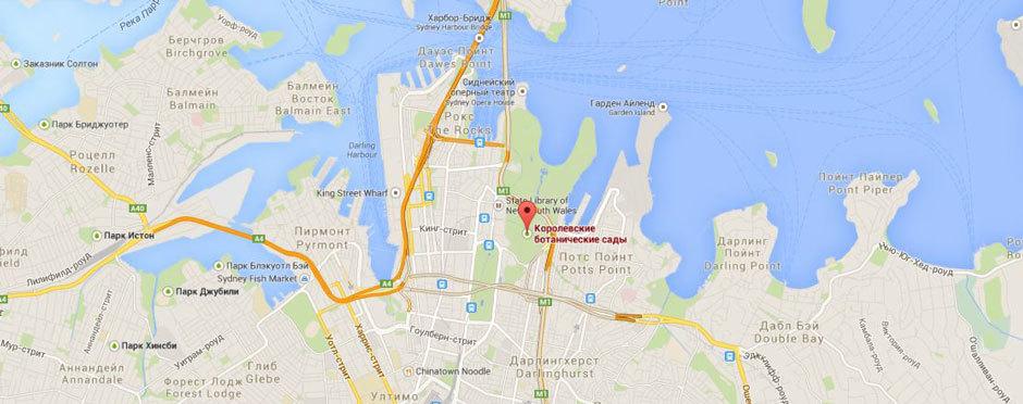 Королевский ботанический сад  на карте Сиднея