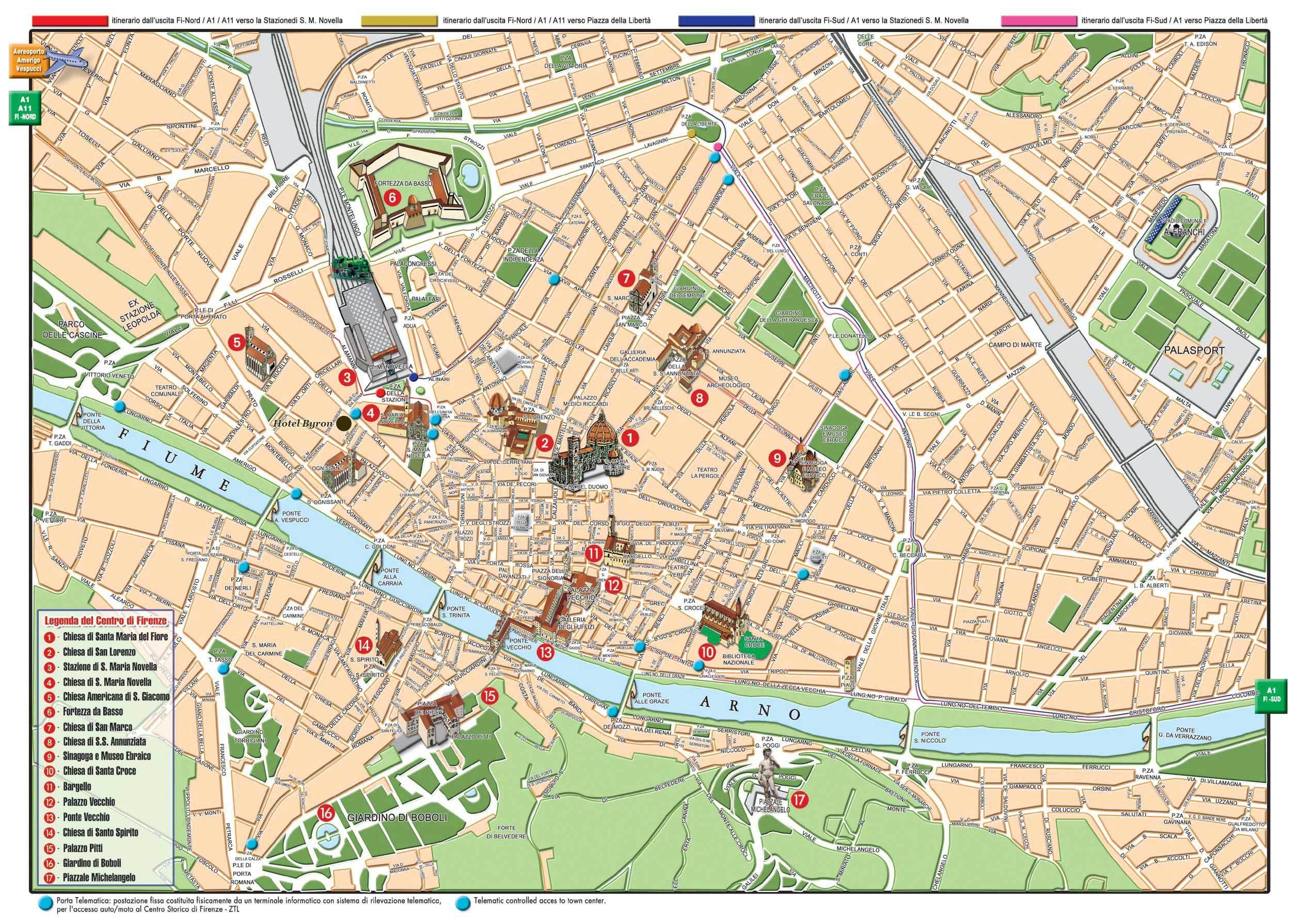 Сады Боболи карта Флоренции