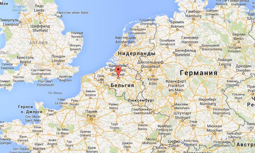 Брюссель на карте Европы