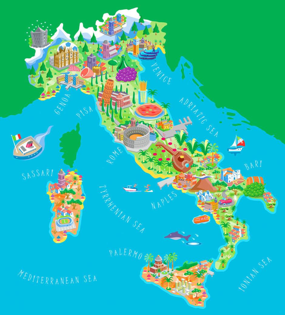 Карта достопримечательностей Италии