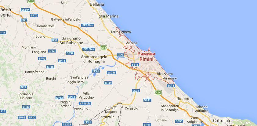 Римини карта