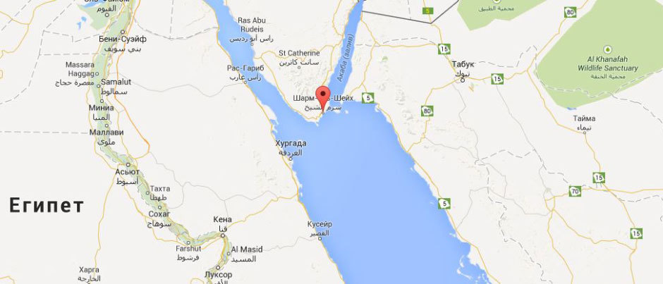 Шарм-эль-Шейх на карте Египта