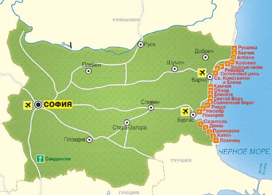 карта Болгарии с курортами на побережье