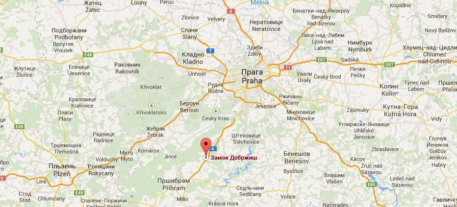 Замок Добржиш на карте Чехии