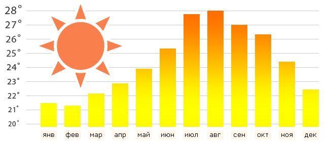 Погода на юге Тенерифе по месяцам