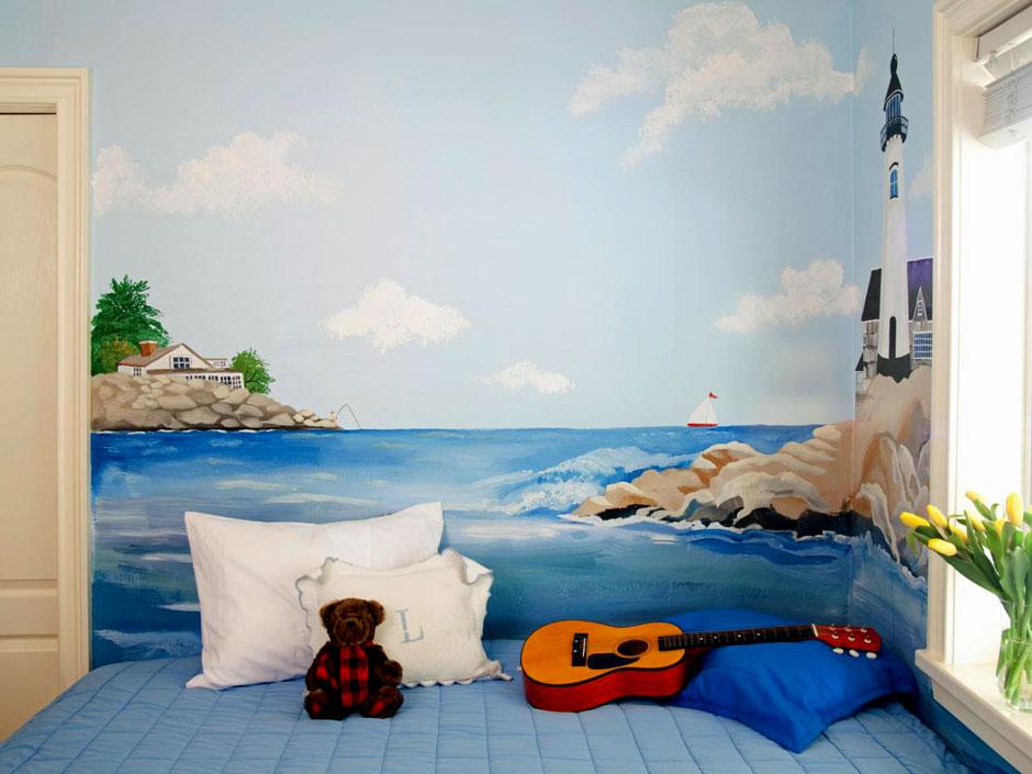 морская тематика в росписи стен детской комнаты
