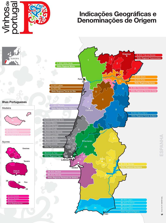 карта винных регионов Португалии
