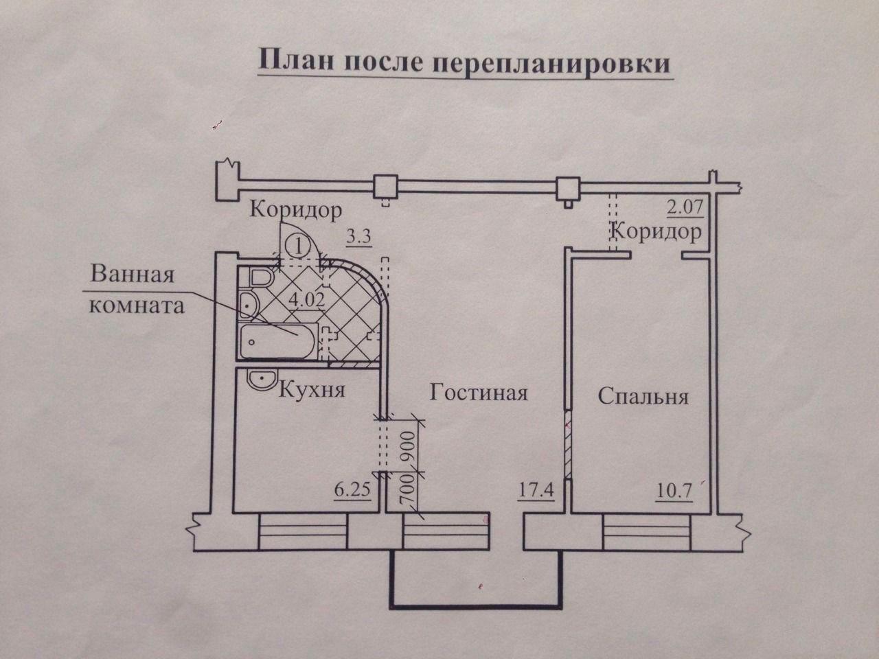 перепланировка 2 х комнатной квартиры хрущевки план