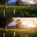 Фото эффект: утренний восход солнца.