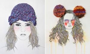 Izziyana Suhaimi, иллюстрации, вышивание на бумаге, вышивка,