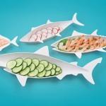 Стильный набор тарелок в виде разных рыб